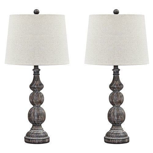 Ashley Furniture Signature Design Mair Poly Table Lamps Set Of 2 Timeworn Finish Antique Black 0