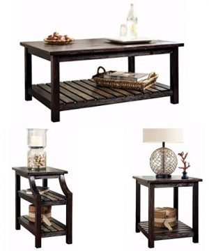 Ashley Furniture Signature Design Mestler Living Room Table Set Coffee Table With Two End Tables Rectangular Rustic Brown 0 300x360