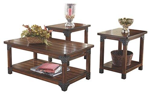 Ashley Furniture Signature Design Murphy 3 Piece Occasional Table Set Medium Brown 0
