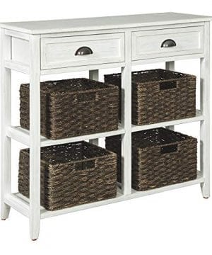Ashley Furniture Signature Design Oslember Storage Accent Table Includes 4 Brown Removable Baskets Antique White Finish 0 300x360