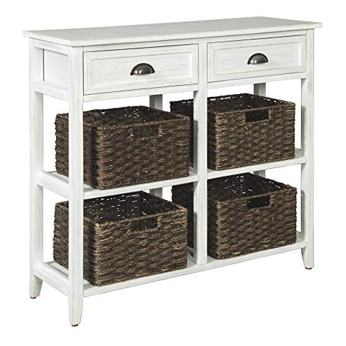 Remarkable Ashley Furniture Signature Design Oslember Storage Accent Table Includes 4 Brown Removable Baskets Antique White Finish Frankydiablos Diy Chair Ideas Frankydiabloscom
