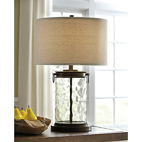 Ashley Furniture Signature Design Tailynn Farmhouse Glass Table Lamp Clear And Bronze Finish 0 0