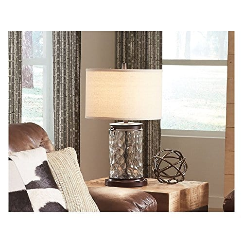 Ashley Furniture Signature Design Tailynn Farmhouse Glass Table Lamp Clear And Bronze Finish 0 1