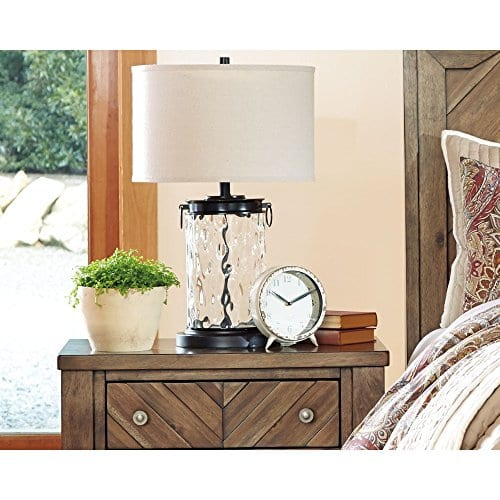 Ashley Furniture Signature Design Tailynn Farmhouse Glass Table Lamp Clear And Bronze Finish 0 2