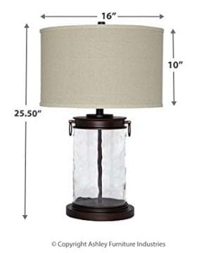 Ashley Furniture Signature Design Tailynn Farmhouse Glass Table Lamp Clear And Bronze Finish 0 5 300x360