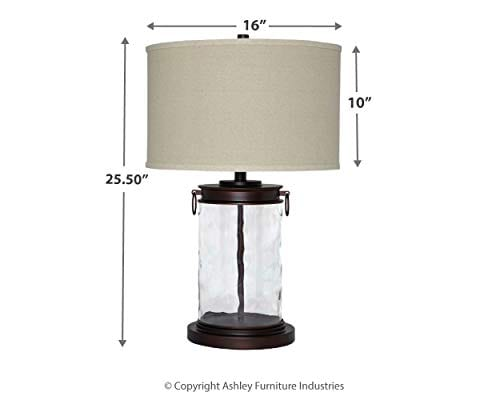 Ashley Furniture Signature Design Tailynn Farmhouse Glass Table Lamp Clear And Bronze Finish 0 5
