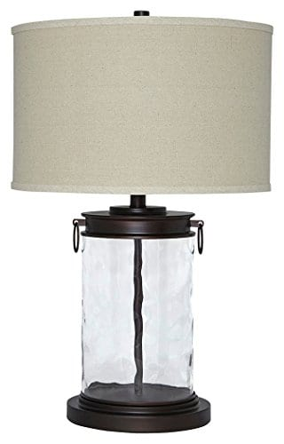Ashley Furniture Signature Design Tailynn Farmhouse Glass Table Lamp Clear And Bronze Finish 0