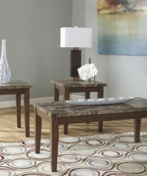 Ashley Furniture Signature Design Theo Faux Marble Top Occasional Table Set Contains Cocktail Table 2 End Tables Contemporary Warm Brown 0 0 300x360