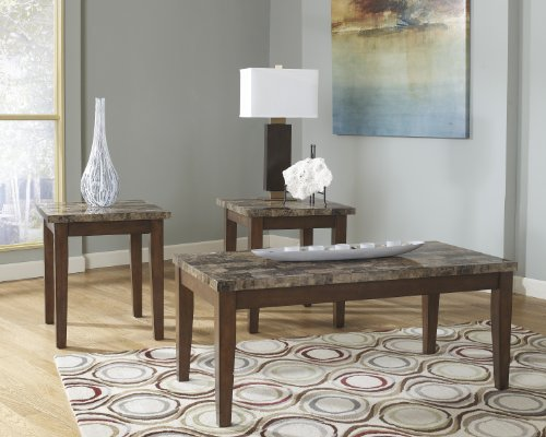 Ashley Furniture Signature Design Theo Faux Marble Top Occasional Table Set Contains Cocktail Table 2 End Tables Contemporary Warm Brown 0 0