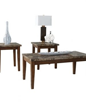 Ashley Furniture Signature Design Theo Faux Marble Top Occasional Table Set Contains Cocktail Table 2 End Tables Contemporary Warm Brown 0 300x360