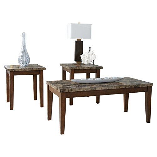 Ashley Furniture Signature Design Theo Faux Marble Top Occasional Table Set Contains Cocktail Table 2 End Tables Contemporary Warm Brown 0