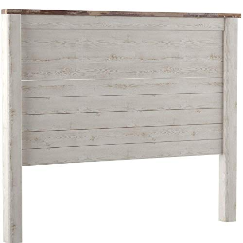buy online dcdda 4b082 Ashley Furniture Signature Design - Willowton Full Panel Headboard -  Contemporary Style - Component Piece - Queen Size - White