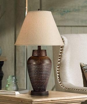 Auburn Modern Table Lamp Rustic Hammered Bronze Metal Vase Natural Linen Empire Shade For Living Room Family Bedroom Bedside Regency Hill 0 300x360