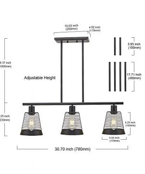 BONLICHT Metal Kitchen Island Lighting 3 Lights Rustic Linear Farmhouse Chandelier Black Pendant Lighting Contemporary Ceiling Light Fixture For Kitchen Island Dining Room Farmhouse 0 1 300x360