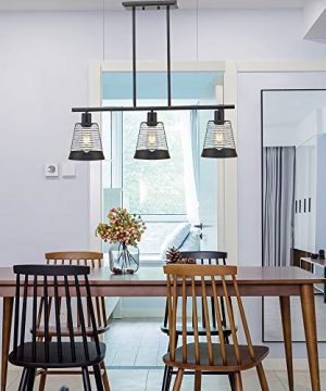 BONLICHT Metal Kitchen Island Lighting 3 Lights Rustic Linear Farmhouse Chandelier Black Pendant Lighting Contemporary Ceiling Light Fixture For Kitchen Island Dining Room Farmhouse 0 4 300x360