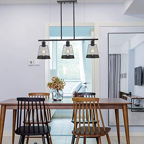 BONLICHT Metal Kitchen Island Lighting 3 Lights Rustic Linear Farmhouse Chandelier Black Pendant Lighting Contemporary Ceiling Light Fixture For Kitchen Island Dining Room Farmhouse 0 4