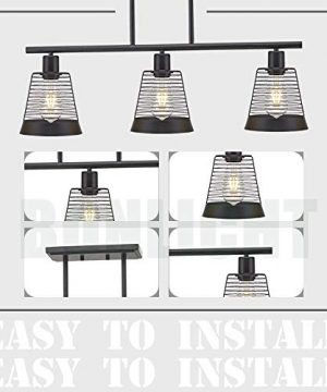 BONLICHT Metal Kitchen Island Lighting 3 Lights Rustic Linear Farmhouse Chandelier Black Pendant Lighting Contemporary Ceiling Light Fixture For Kitchen Island Dining Room Farmhouse 0 5 300x360