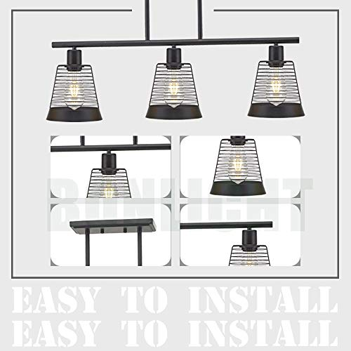 BONLICHT Metal Kitchen Island Lighting 3 Lights Rustic Linear Farmhouse Chandelier Black Pendant Lighting Contemporary Ceiling Light Fixture For Kitchen Island Dining Room Farmhouse 0 5