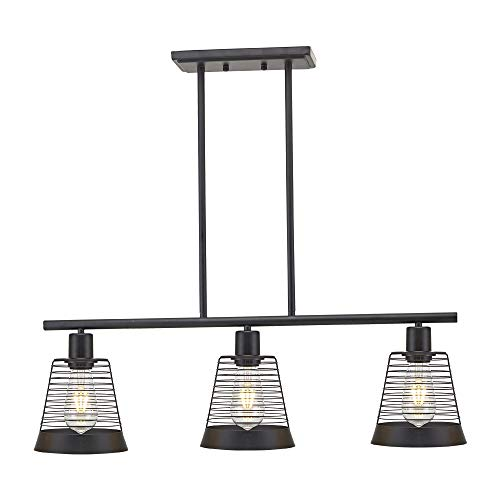 BONLICHT Metal Kitchen Island Lighting 3 Lights Rustic Linear Farmhouse Chandelier Black Pendant Lighting Contemporary Ceiling Light Fixture For Kitchen Island Dining Room Farmhouse 0