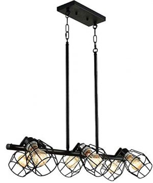 Baiwaiz Black Industrial Linear Chandelier Metal Wire Cage Pool Table Light Retro Kitchen Island Lighting 6 Lights Edison E26 083 0 1 300x360