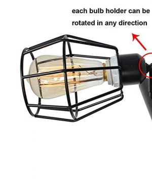 Baiwaiz Black Industrial Linear Chandelier Metal Wire Cage Pool Table Light Retro Kitchen Island Lighting 6 Lights Edison E26 083 0 2 300x360