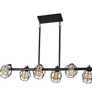 Baiwaiz Black Industrial Linear Chandelier Metal Wire Cage Pool Table Light Retro Kitchen Island Lighting 6 Lights Edison E26 083 0 300x360