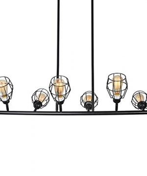 Baiwaiz Black Industrial Linear Chandelier Metal Wire Cage Pool Table Light Retro Kitchen Island Lighting 6 Lights Edison E26 083 0 4 300x360