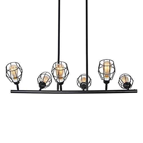 Baiwaiz Black Industrial Linear Chandelier Metal Wire Cage Pool Table Light Retro Kitchen Island Lighting 6 Lights Edison E26 083 0 4