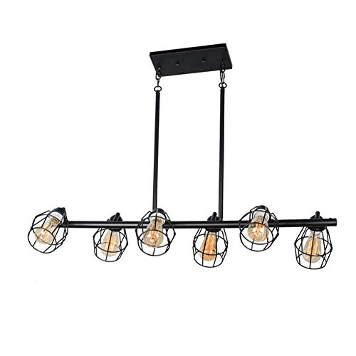 Baiwaiz Black Industrial Linear Chandelier Metal Wire Cage Pool Table Light Retro Kitchen Island Lighting 6 Lights Edison E26 083 0