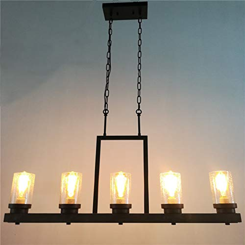 Baiwaiz Farmhouse Kitchen Island Light With Clear Seeded Glass Shade Metal And Wood Rustic Linear Chandelier Industrial Dining Room Light Fixture 5 Lights Edison E26 095 0 1