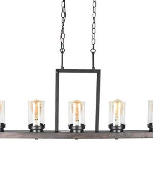 Baiwaiz Farmhouse Kitchen Island Light With Clear Seeded Glass Shade Metal And Wood Rustic Linear Chandelier Industrial Dining Room Light Fixture 5 Lights Edison E26 095 0 2 300x360