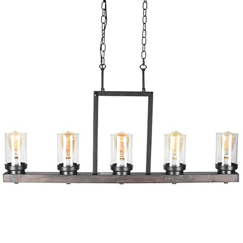 Baiwaiz Farmhouse Kitchen Island Light With Clear Seeded Glass Shade Metal And Wood Rustic Linear Chandelier Industrial Dining Room Light Fixture 5 Lights Edison E26 095 0 2
