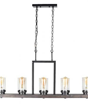 Baiwaiz Farmhouse Kitchen Island Light With Clear Seeded Glass Shade Metal And Wood Rustic Linear Chandelier Industrial Dining Room Light Fixture 5 Lights Edison E26 095 0 300x360