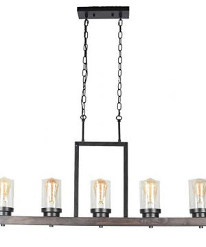 Baiwaiz Farmhouse Kitchen Island Light With Clear Seeded Glass Shade Metal And Wood Rustic Linear Chandelier Industrial Dining Room Light Fixture 5 Lights Edison E26 095 0 4 300x360