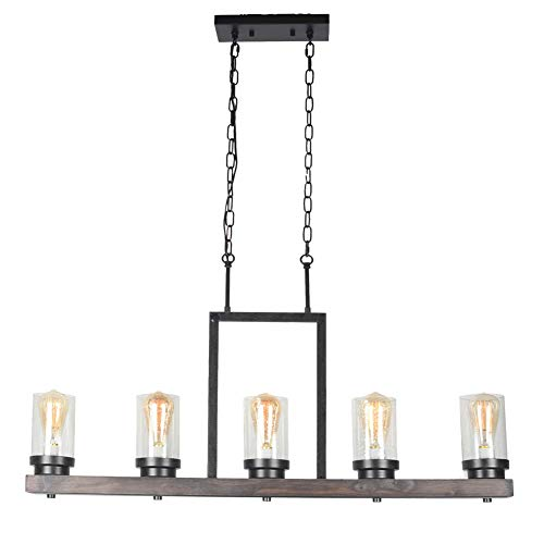 Baiwaiz Farmhouse Kitchen Island Light With Clear Seeded Glass Shade Metal And Wood Rustic Linear Chandelier Industrial Dining Room Light Fixture 5 Lights Edison E26 095 0 4