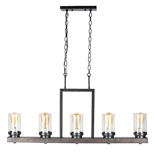 Baiwaiz Farmhouse Kitchen Island Light With Clear Seeded Glass Shade Metal And Wood Rustic Linear Chandelier Industrial Dining Room Light Fixture 5 Lights Edison E26 095 0