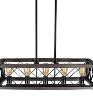 Baiwaiz Rustic Wood Chandelier Metal Rectangle Dining Room Lighting Farmhouse Kitchen Island Light Fixtures 5 Lights Edison E26 032 0 3 300x360