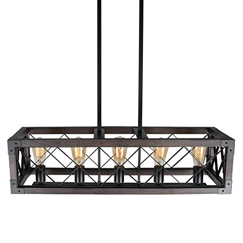 Baiwaiz Rustic Wood Chandelier Metal Rectangle Dining Room Lighting Farmhouse Kitchen Island Light Fixtures 5 Lights Edison E26 032 0 3