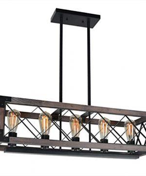 Baiwaiz Rustic Wood Chandelier Metal Rectangle Dining Room Lighting Farmhouse Kitchen Island Light Fixtures 5 Lights Edison E26 032 0 300x360