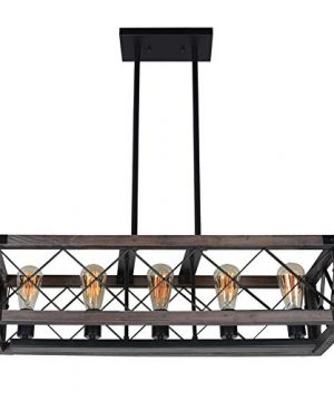 Baiwaiz Rustic Wood Chandelier Metal Rectangle Dining Room Lighting Farmhouse Kitchen Island Light Fixtures 5 Lights Edison E26 032 0 4 300x360