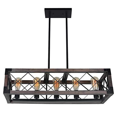 Baiwaiz Rustic Wood Chandelier Metal Rectangle Dining Room Lighting Farmhouse Kitchen Island Light Fixtures 5 Lights Edison E26 032 0 4