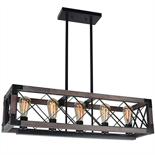 Baiwaiz Rustic Wood Chandelier Metal Rectangle Dining Room Chandelier Lighting Farmhouse Kitchen Pendant Island Light Fixtures 5 Lights Edison E26