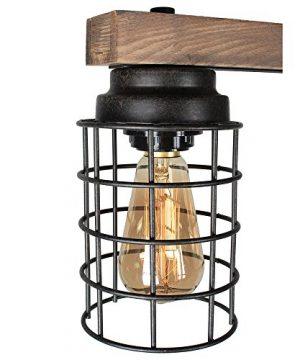 Baiwaiz Wood Pool Table Light Rustic Kitchen Island Lighting Metal Cage Linear Chandelier Industrial Farmhouse Billiard Light Fixture 5 Light Edison E26 069 0 4 300x360