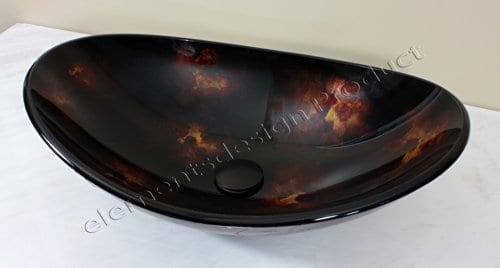 Bathroom Artistic Oval B9019 Combo Glass Vessel Sink With Oil Rubbed Bronze Faucetdrain 0 0