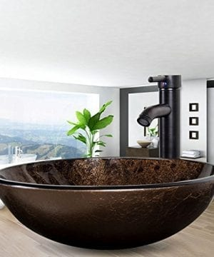 Bathroom Artistic Vessel Sink Modern Round Tempered Glass Basin Washing Bowl Oil Rubbed Bronze Faucet Pop Up Drain Set 0 0 300x360