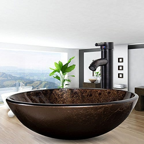 Bathroom Artistic Vessel Sink Modern Round Tempered Glass Basin Washing Bowl Oil Rubbed Bronze Faucet Pop Up Drain Set 0 0
