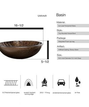 Bathroom Artistic Vessel Sink Modern Round Tempered Glass Basin Washing Bowl Oil Rubbed Bronze Faucet Pop Up Drain Set 0 1 300x360