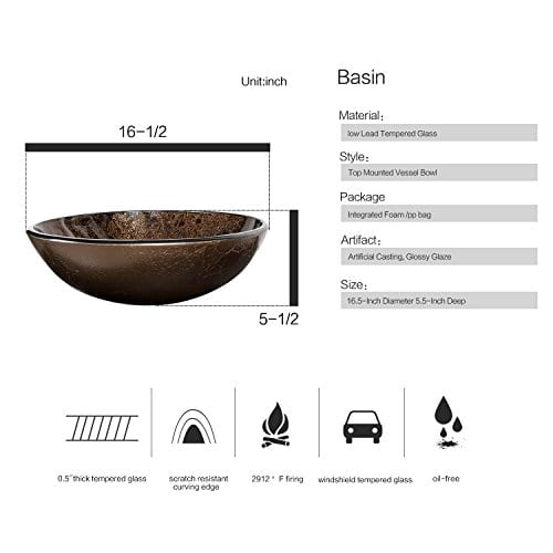 Bathroom Artistic Vessel Sink Modern Round Tempered Glass Basin Washing Bowl Oil Rubbed Bronze Faucet Pop Up Drain Set 0 1