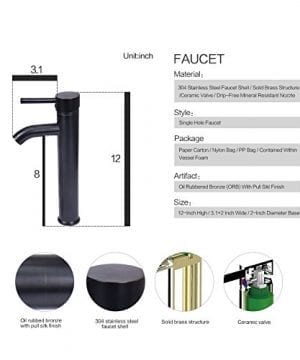 Bathroom Artistic Vessel Sink Modern Round Tempered Glass Basin Washing Bowl Oil Rubbed Bronze Faucet Pop Up Drain Set 0 2 300x360