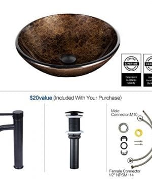 Bathroom Artistic Vessel Sink Modern Round Tempered Glass Basin Washing Bowl Oil Rubbed Bronze Faucet Pop Up Drain Set 0 3 300x360
